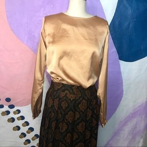 VINTAGE Liquid Gold Copper Satin Modest Blouse